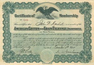 American Cotton & Grain Exchange Inc of New York - SOLD